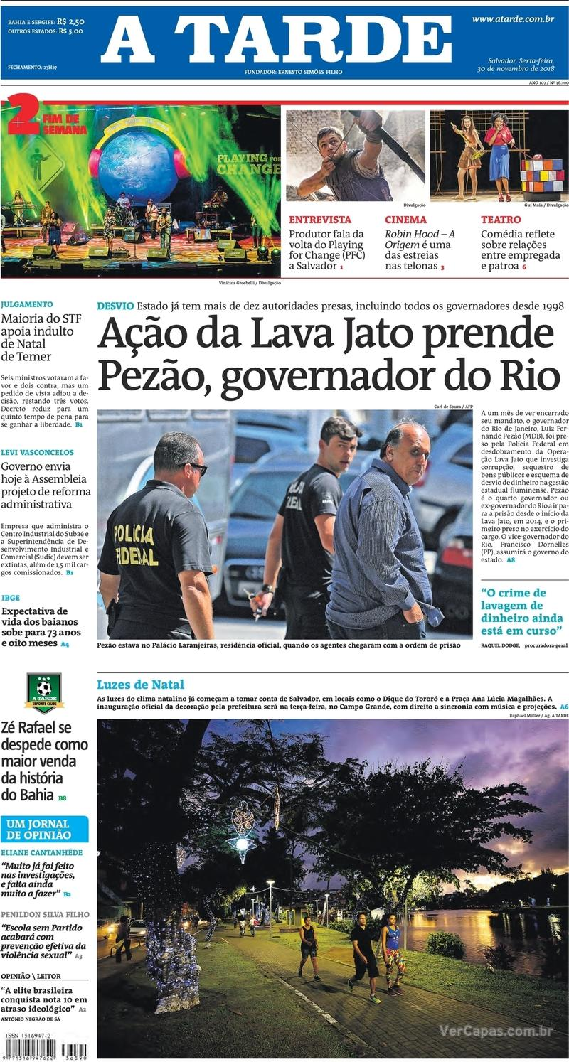 Capa jornal A Tarde 30/11/2018