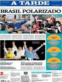Capa do jornal A Tarde 08/10/2018