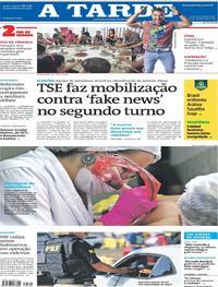 Capa do jornal A Tarde 12/10/2018