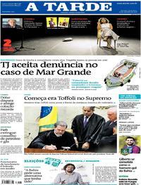 Capa do jornal A Tarde 14/09/2018