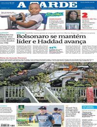 Capa do jornal A Tarde 15/09/2018