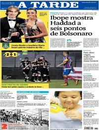 Capa do jornal A Tarde 25/09/2018