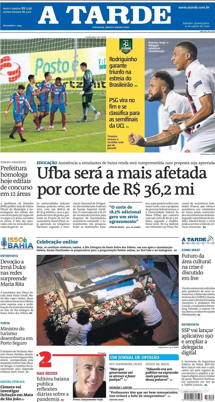 Capa do jornal A Tarde 13/08/2020