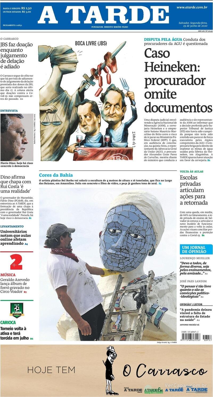 Capa do jornal A Tarde 29/06/2020