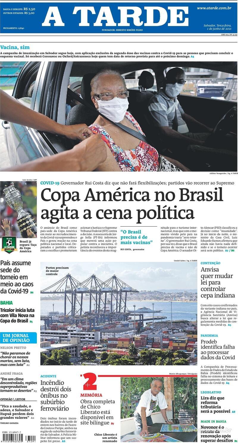 Capa do jornal A Tarde 01/06/2021