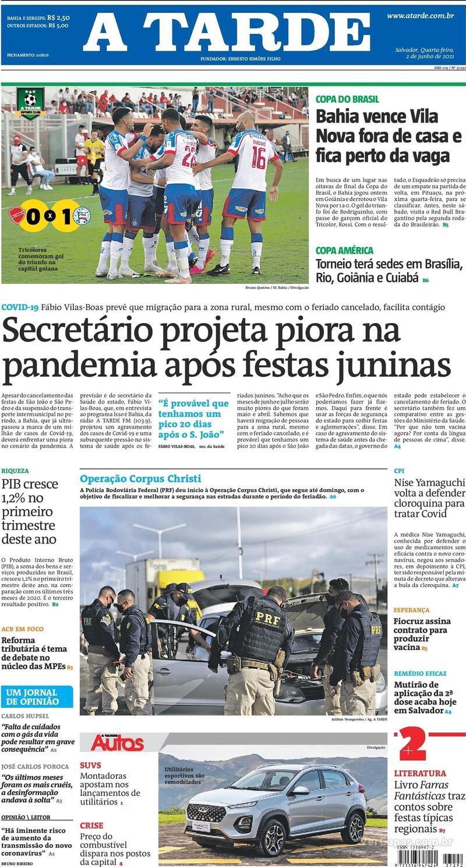 Capa do jornal A Tarde 02/06/2021