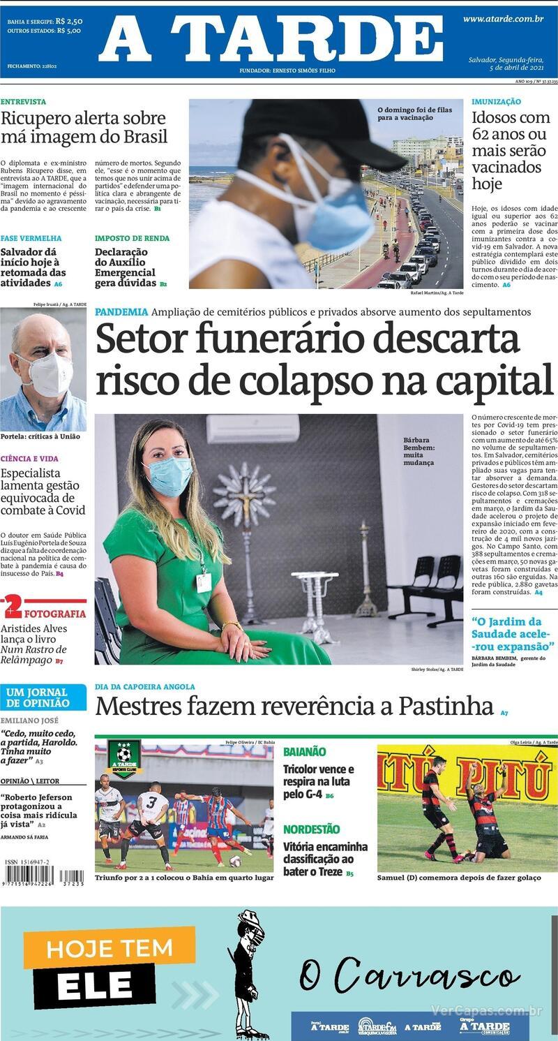 Capa do jornal A Tarde 05/04/2021