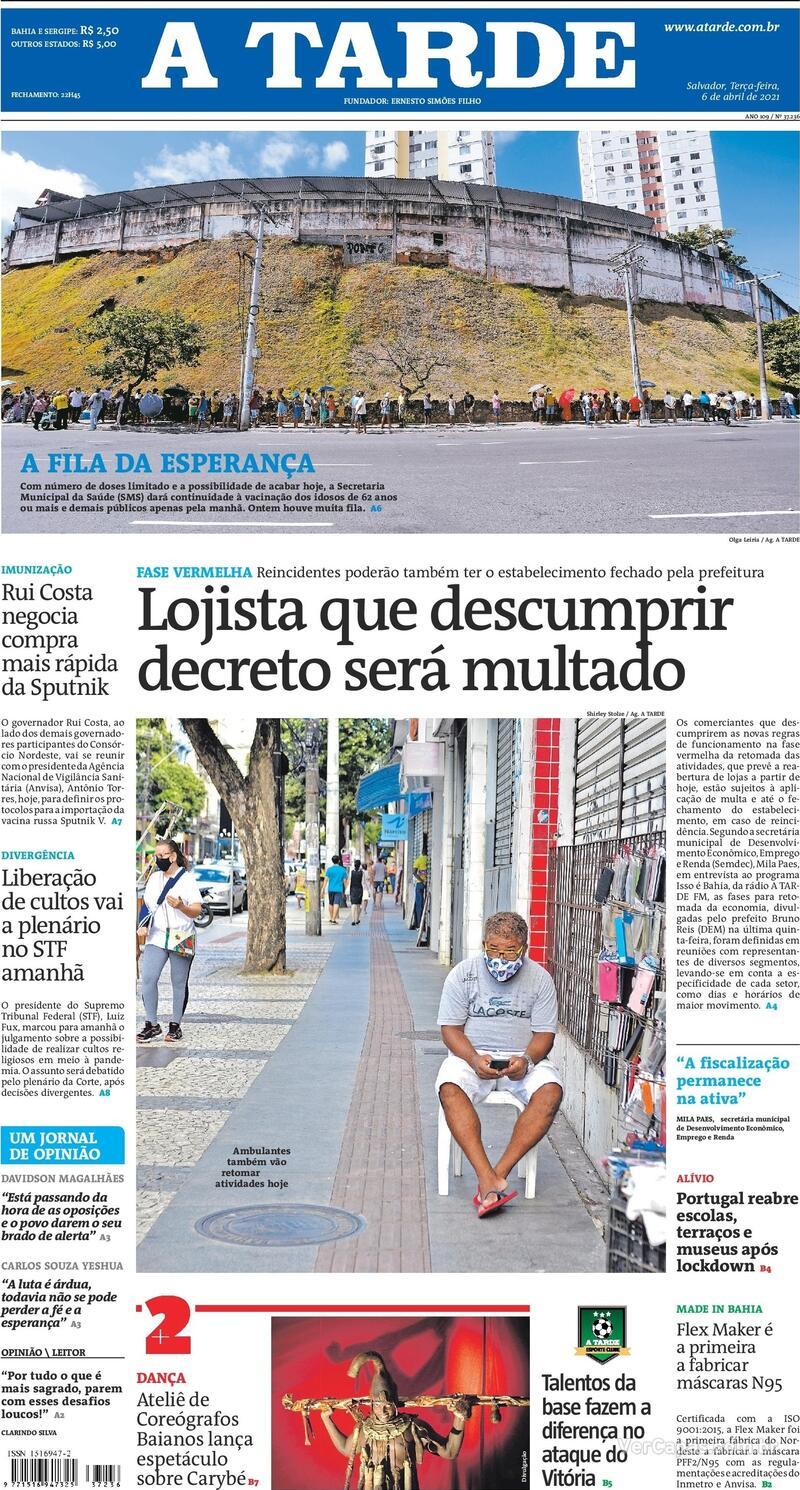 Capa do jornal A Tarde 06/04/2021