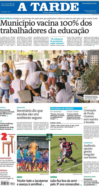 Capa do jornal A Tarde 06/05/2021