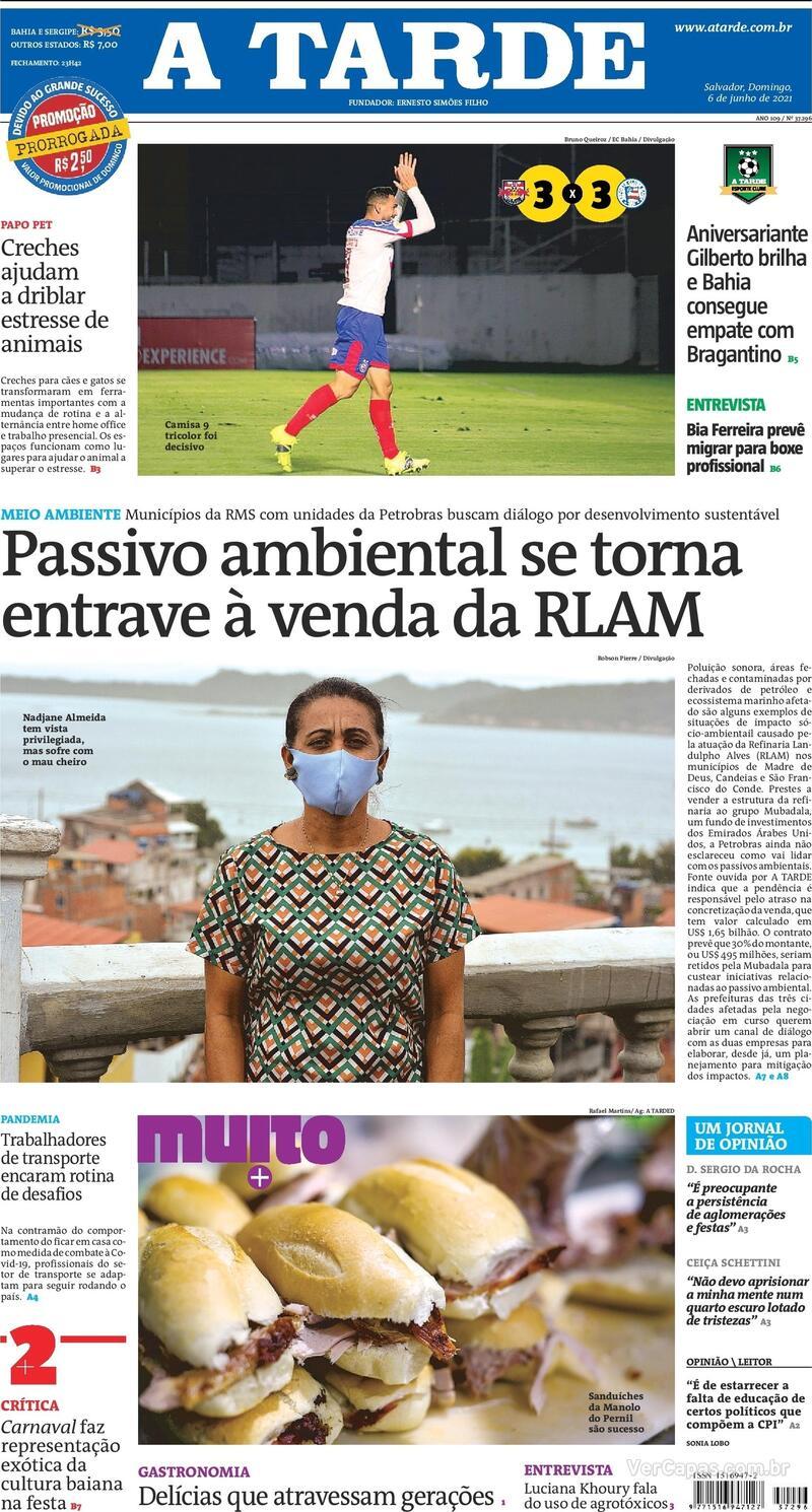 Capa do jornal A Tarde 06/06/2021