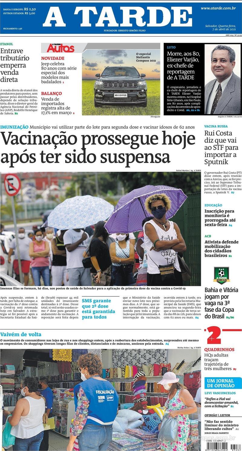 Capa do jornal A Tarde 07/04/2021
