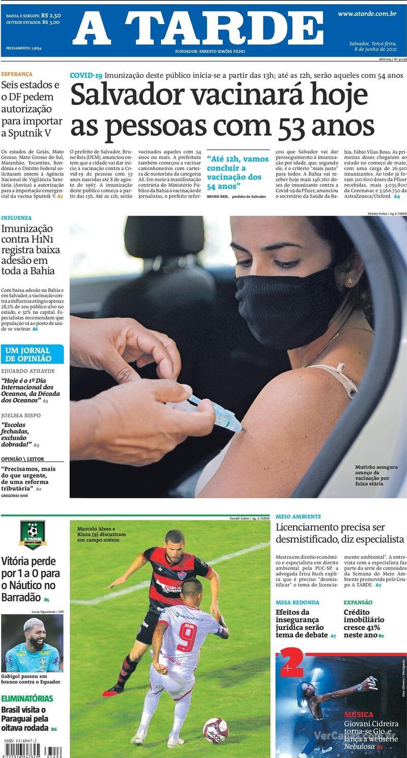 Capa do jornal A Tarde 08/06/2021