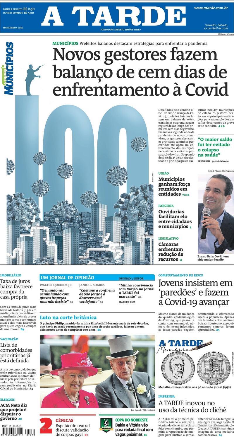 Capa do jornal A Tarde 10/04/2021
