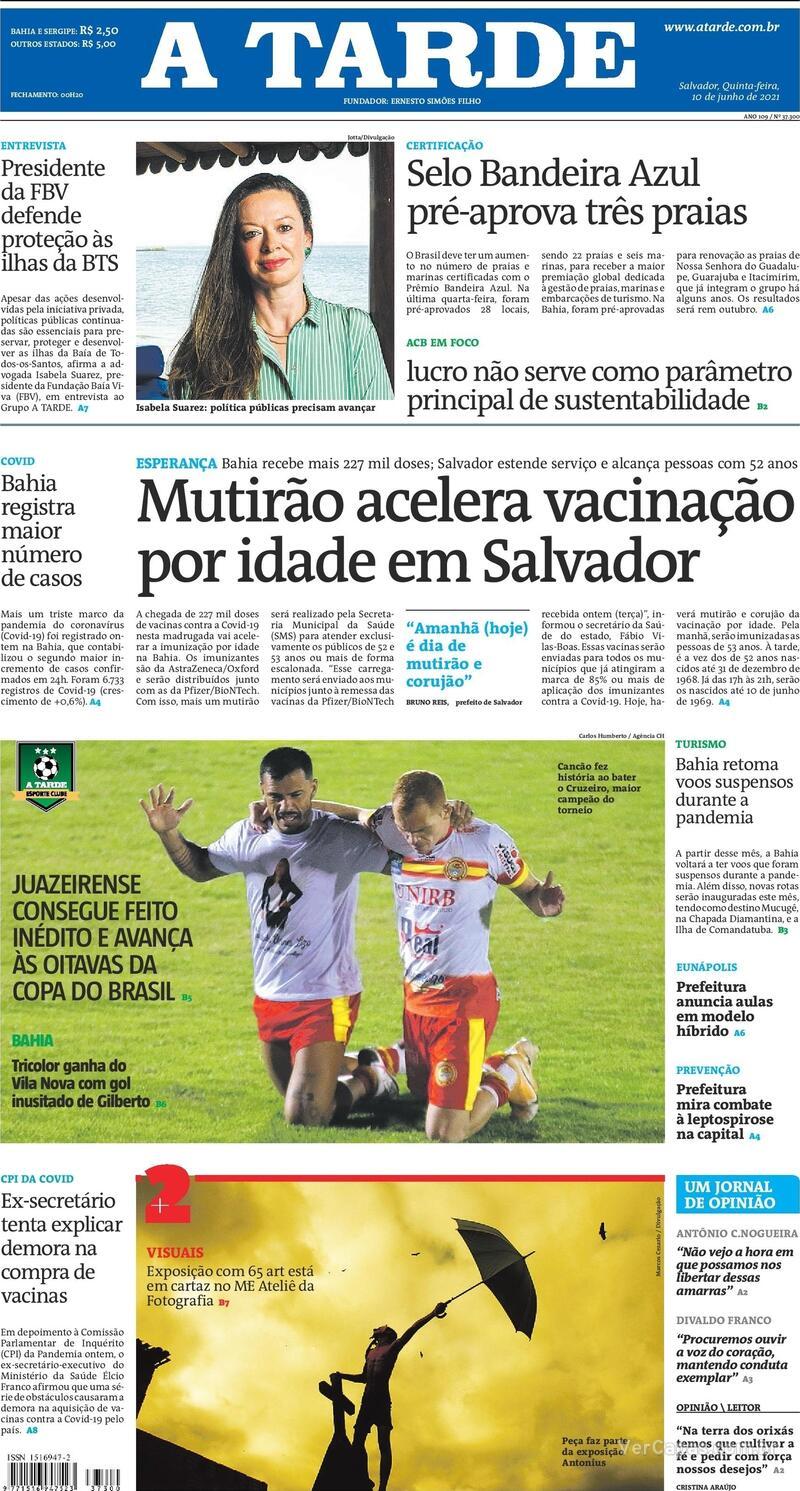 Capa do jornal A Tarde 10/06/2021