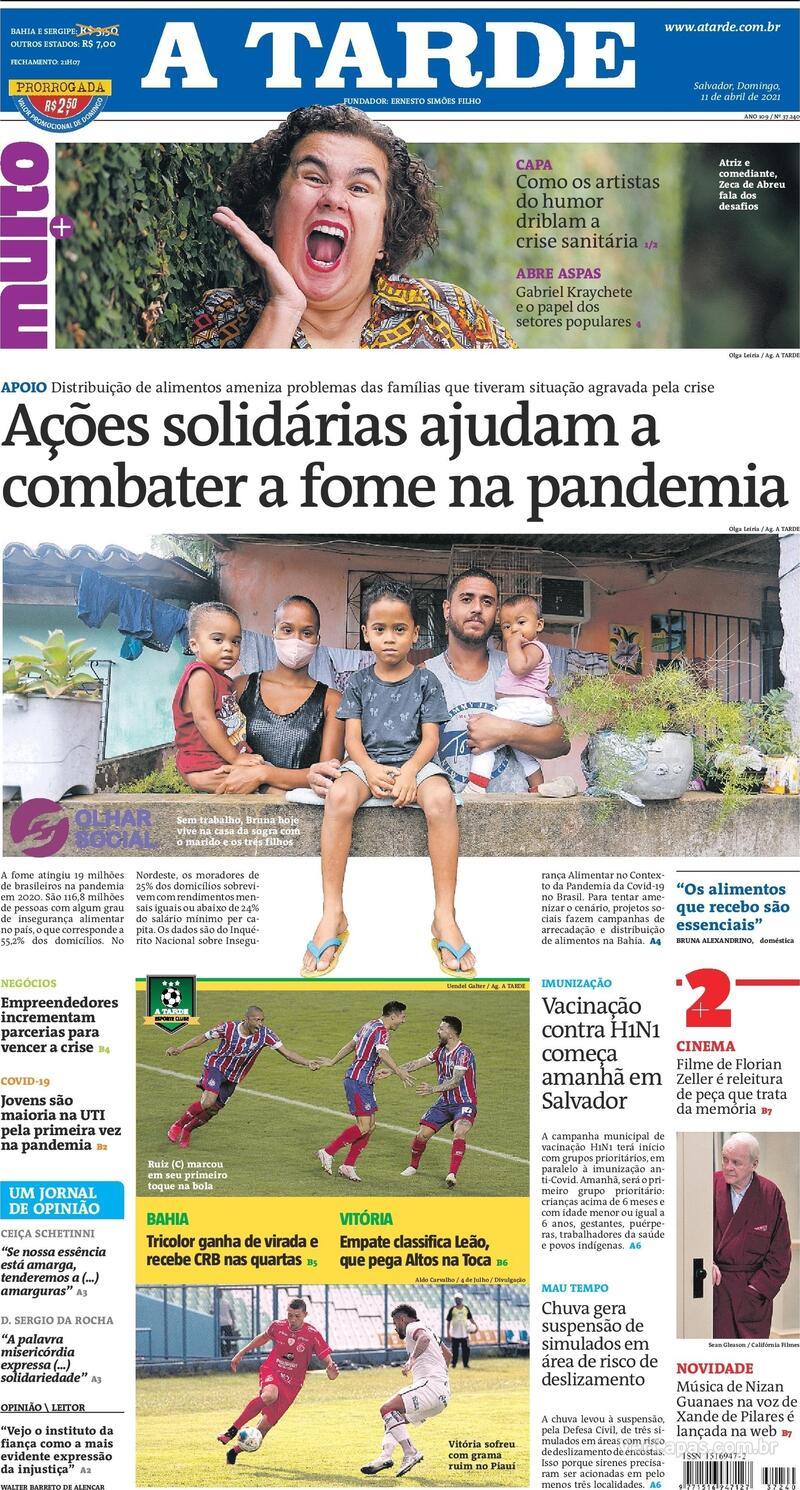 Capa do jornal A Tarde 11/04/2021