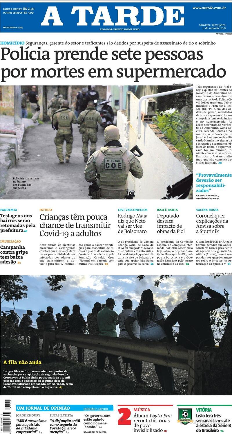 Capa do jornal A Tarde 11/05/2021