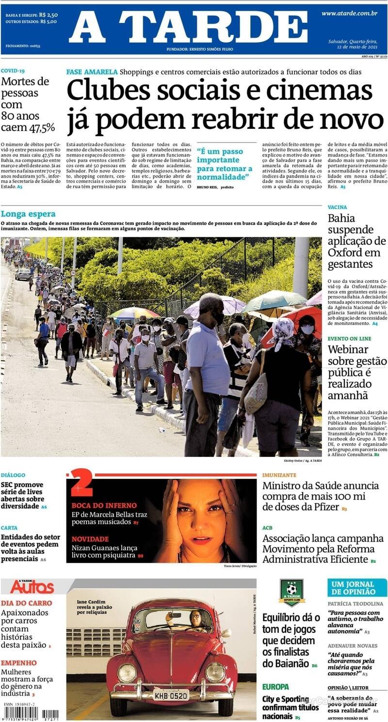 Capa do jornal A Tarde 12/05/2021