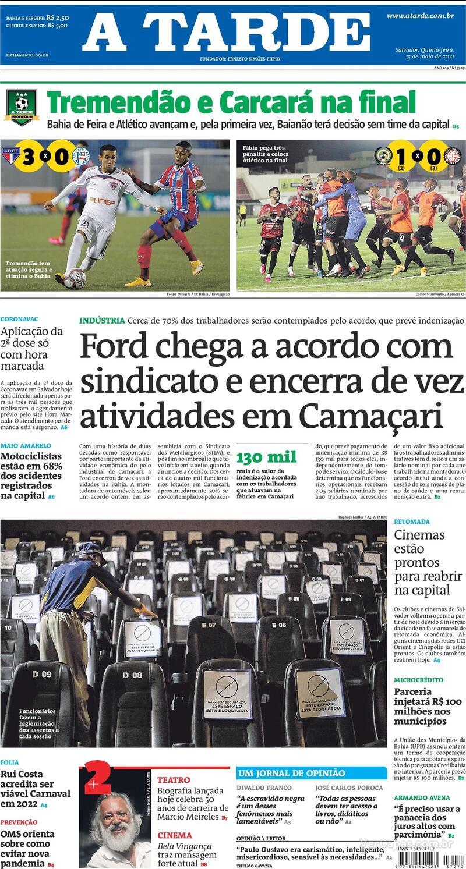 Capa do jornal A Tarde 13/05/2021