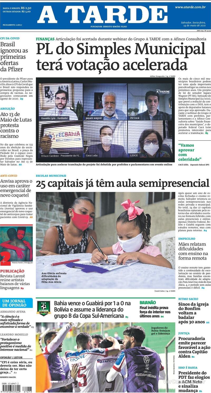 Capa do jornal A Tarde 14/05/2021