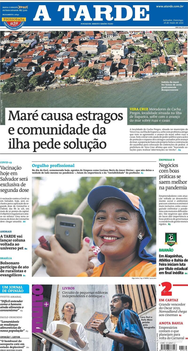 Capa do jornal A Tarde 16/05/2021