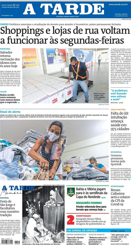 Capa do jornal A Tarde 17/04/2021