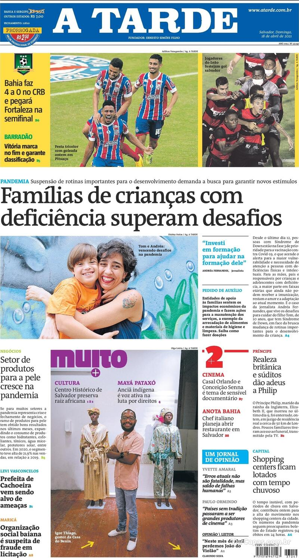 Capa do jornal A Tarde 18/04/2021