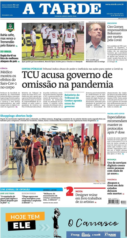 Capa do jornal A Tarde 19/04/2021
