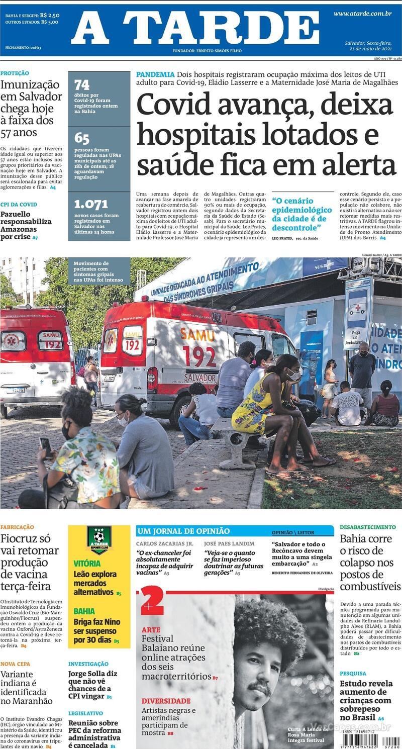Capa do jornal A Tarde 21/05/2021