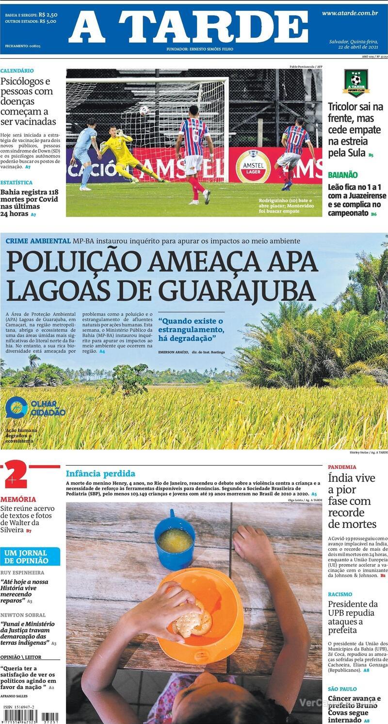 Capa do jornal A Tarde 22/04/2021