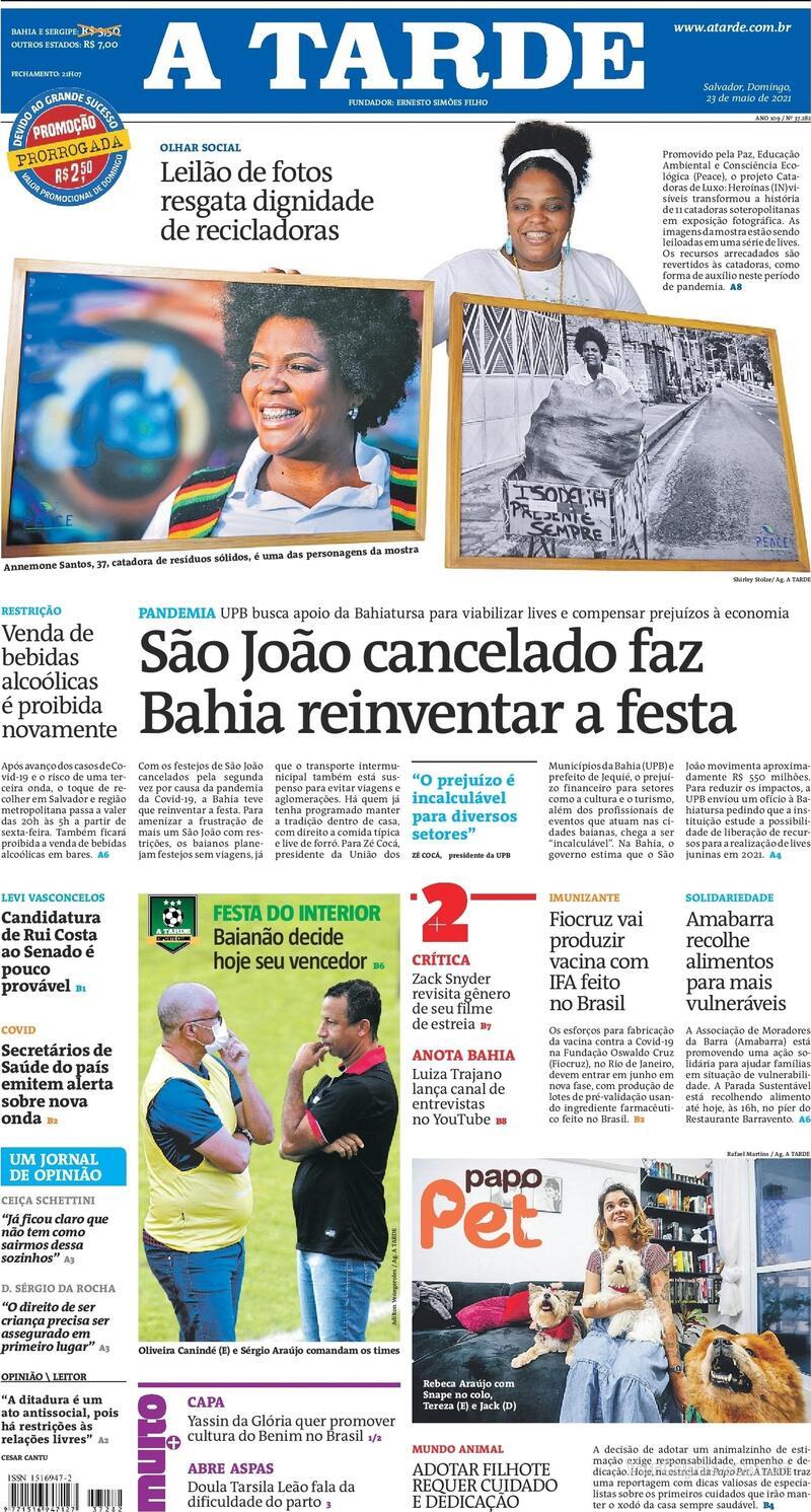 Capa do jornal A Tarde 23/05/2021