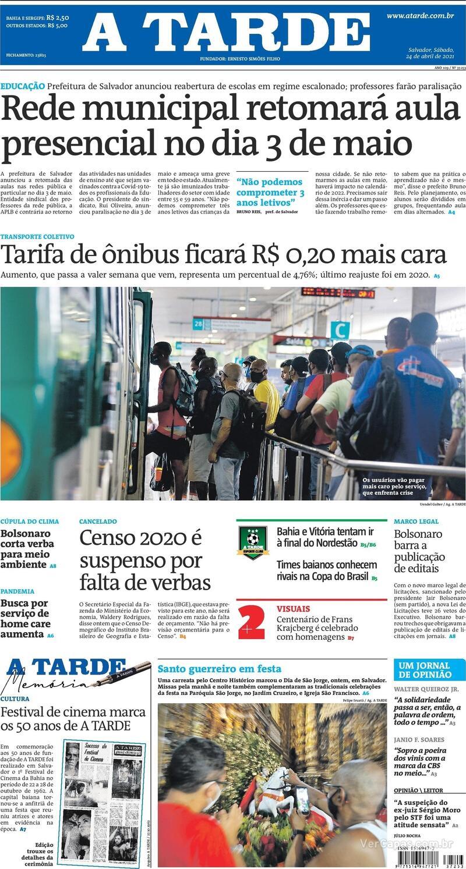 Capa do jornal A Tarde 24/04/2021