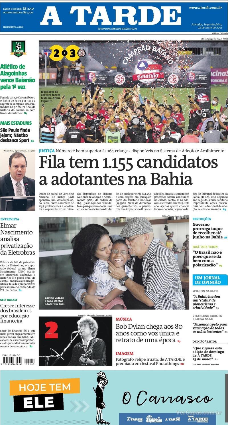 Capa do jornal A Tarde 24/05/2021