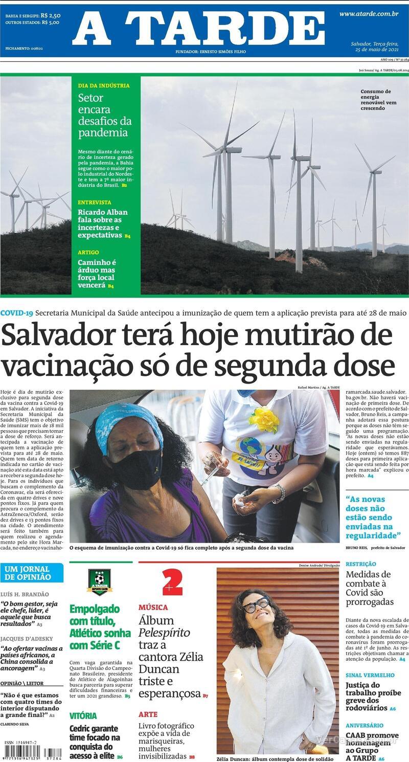 Capa do jornal A Tarde 25/05/2021