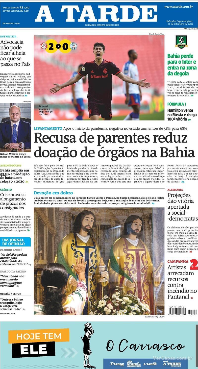 Capa do jornal A Tarde 27/09/2021