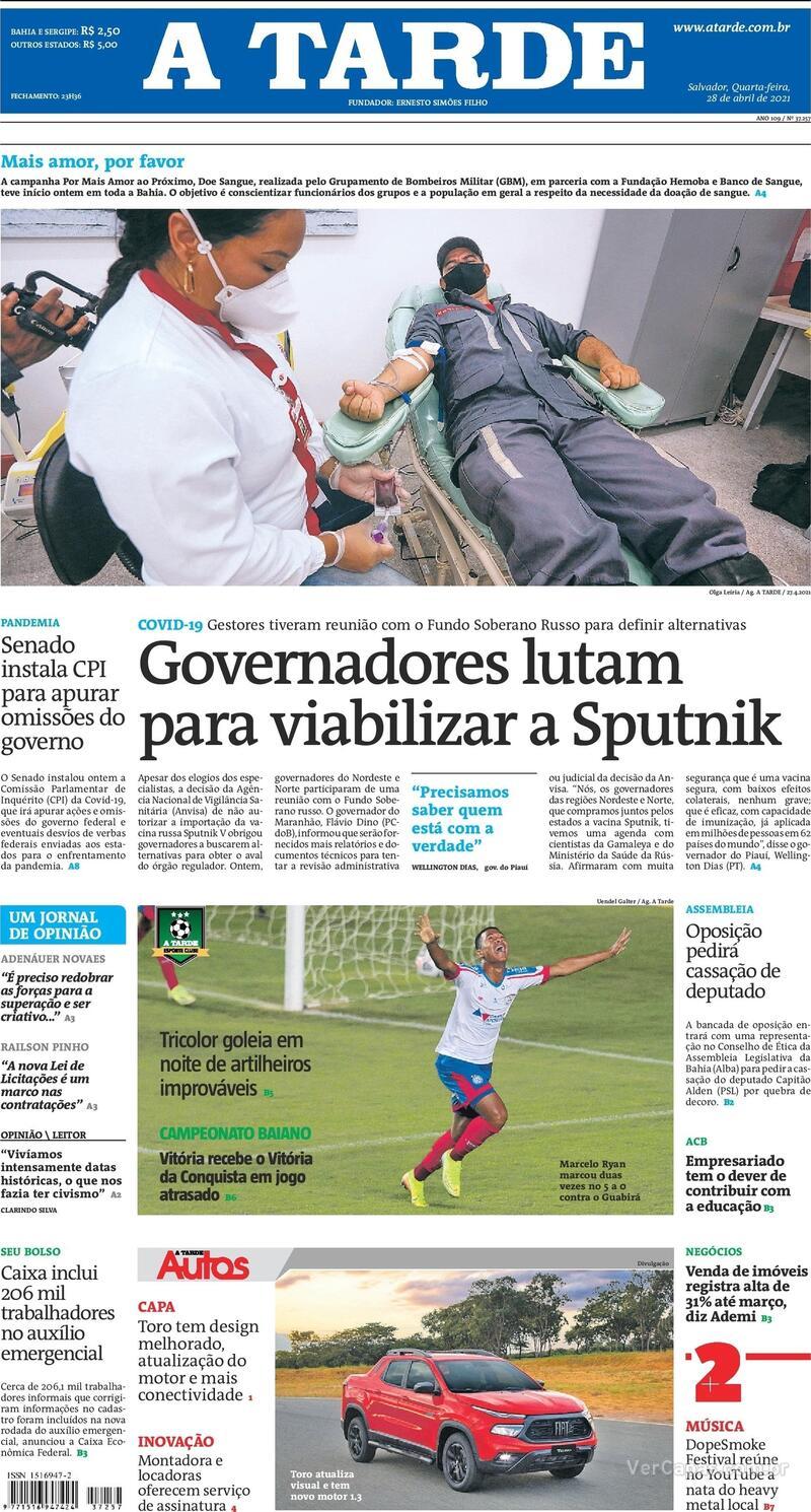 Capa do jornal A Tarde 28/04/2021