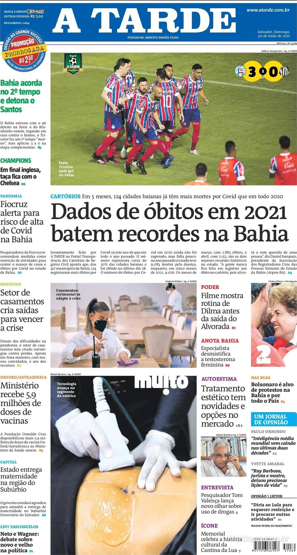 Capa do jornal A Tarde 30/05/2021