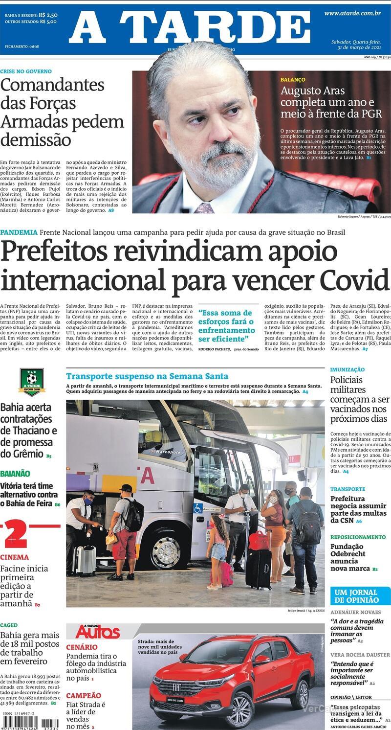 Capa do jornal A Tarde 31/03/2021