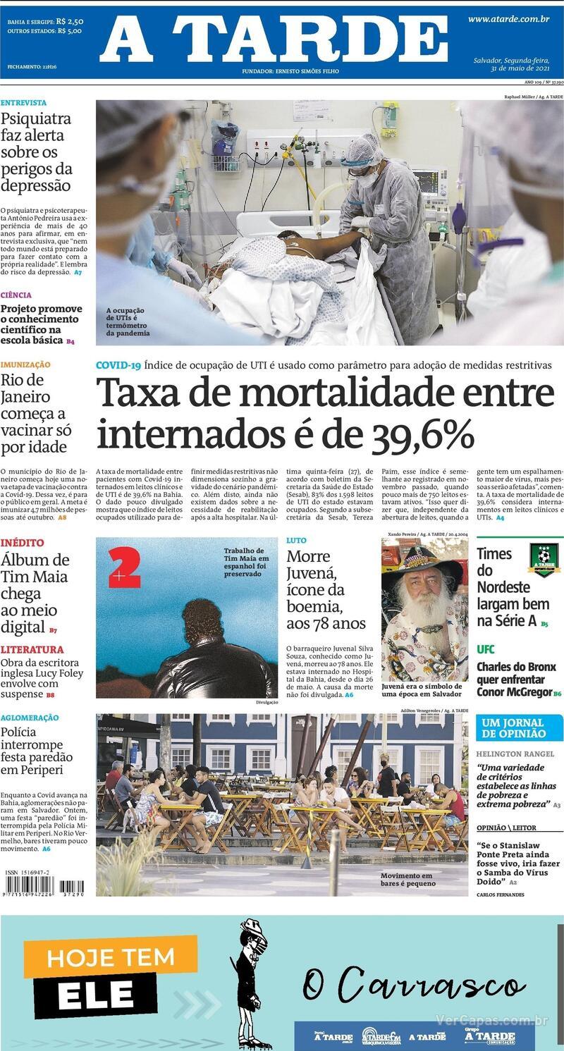 Capa do jornal A Tarde 31/05/2021