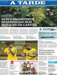 Capa do jornal A Tarde 05/06/2021