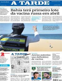 Capa do jornal A Tarde 13/03/2021