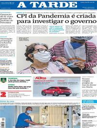 Capa do jornal A Tarde 14/04/2021