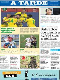 Capa do jornal A Tarde 14/06/2021