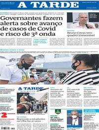 Capa do jornal A Tarde 15/05/2021