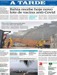 Capa do jornal A Tarde 16/04/2021