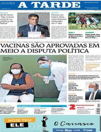 Capa do jornal A Tarde 18/01/2021