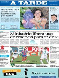 Capa do jornal A Tarde 22/03/2021