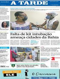 Capa do jornal A Tarde 26/04/2021