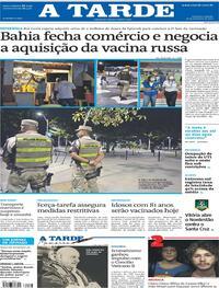 Capa do jornal A Tarde 27/02/2021