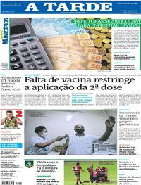Capa do jornal A Tarde 29/04/2021
