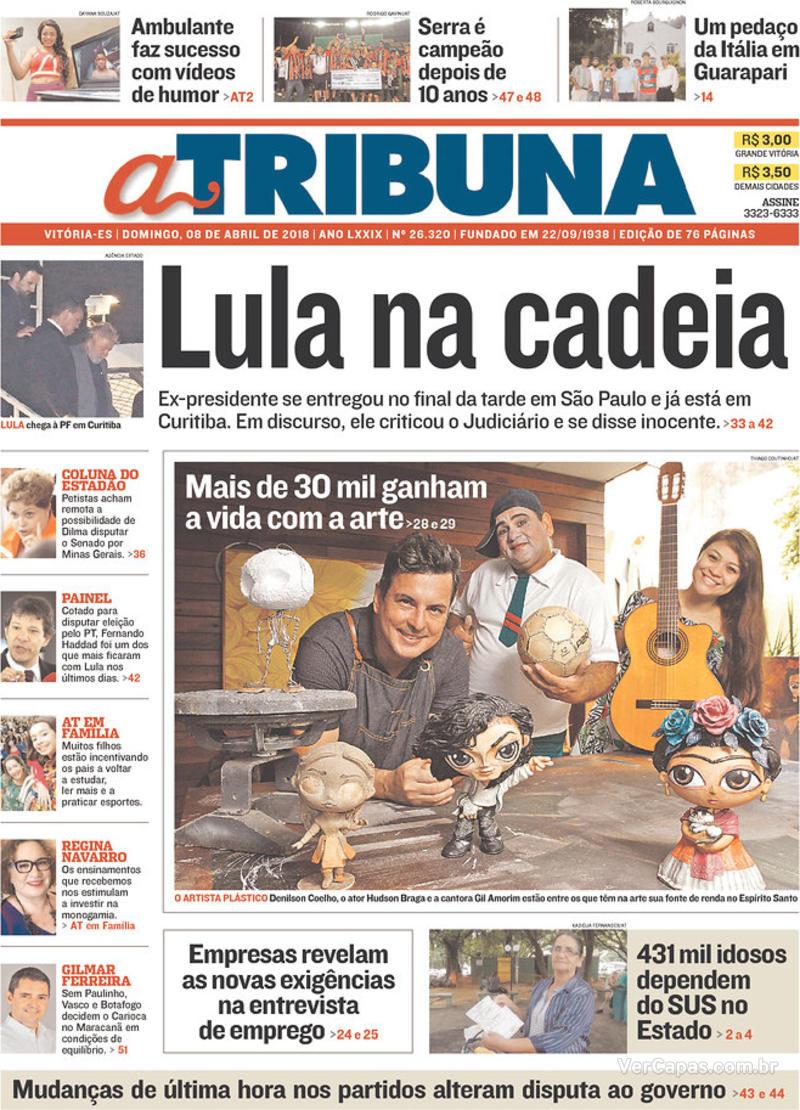 Capa A Tribuna 2018-04-08